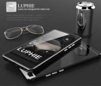 Металлический бампер Luphie with tempered glass back cover для Huawei P8